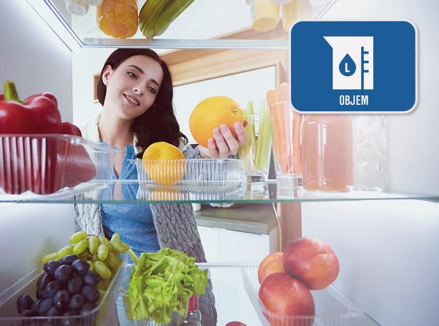 Podľa čoho vybrať chladničku a ako do nej ukladať potraviny, Objem, Orava