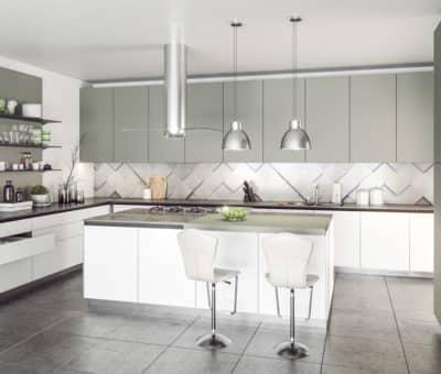 Preneste interiér do 3. tisícročia! Predstavíme vám najnovšie nábytkové a plošné materiály, SOFTIXX bila šedá kuchyňa, T.BOARD Trachea