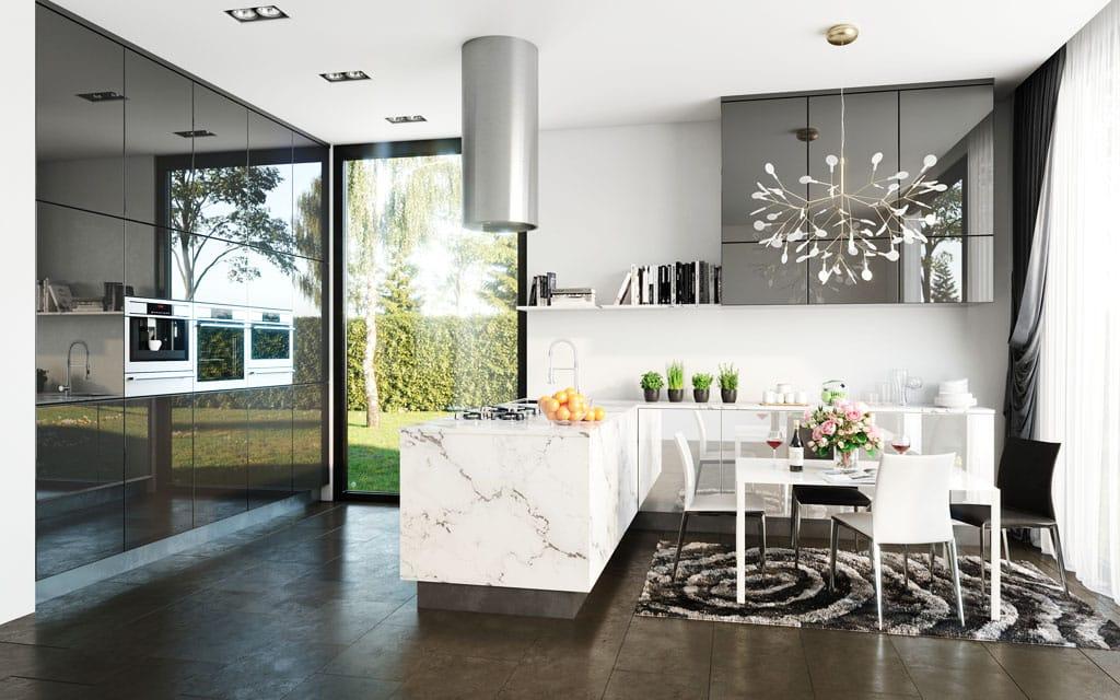 VETRIXX kuchyňa kráľovská šedá, lesk biela, lesk dvierka Trachea, VETRIXX – dvierka šikovne imitujúce sklo