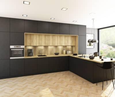 Interiérom vládne hlboký mat a tmavé odtiene, SOFTIXX ciern, Trachea nabytok kuchyna