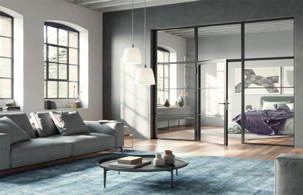Moderné deliace sklenené steny ako aj exkluzívne Loft dvere z ocele