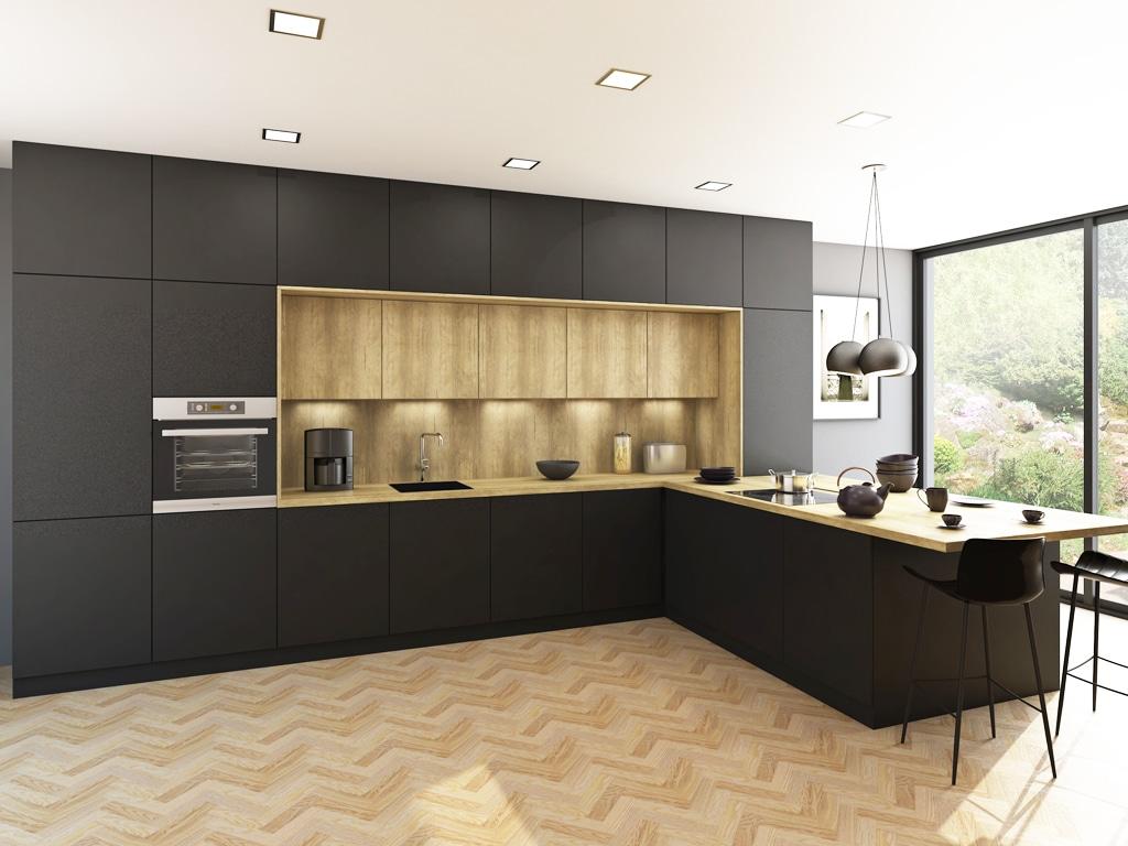 SOFTIXX Cierna, Trachea, , interier, kuchynsky nabytok, matny nabytok, Matné povrchy vládnu kuchyniam