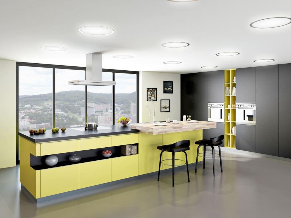 T acrylic zlta matna cierny mat, Trachea, interier, kuchynsky nabytok, matny nabytok, Matné povrchy vládnu kuchyniam