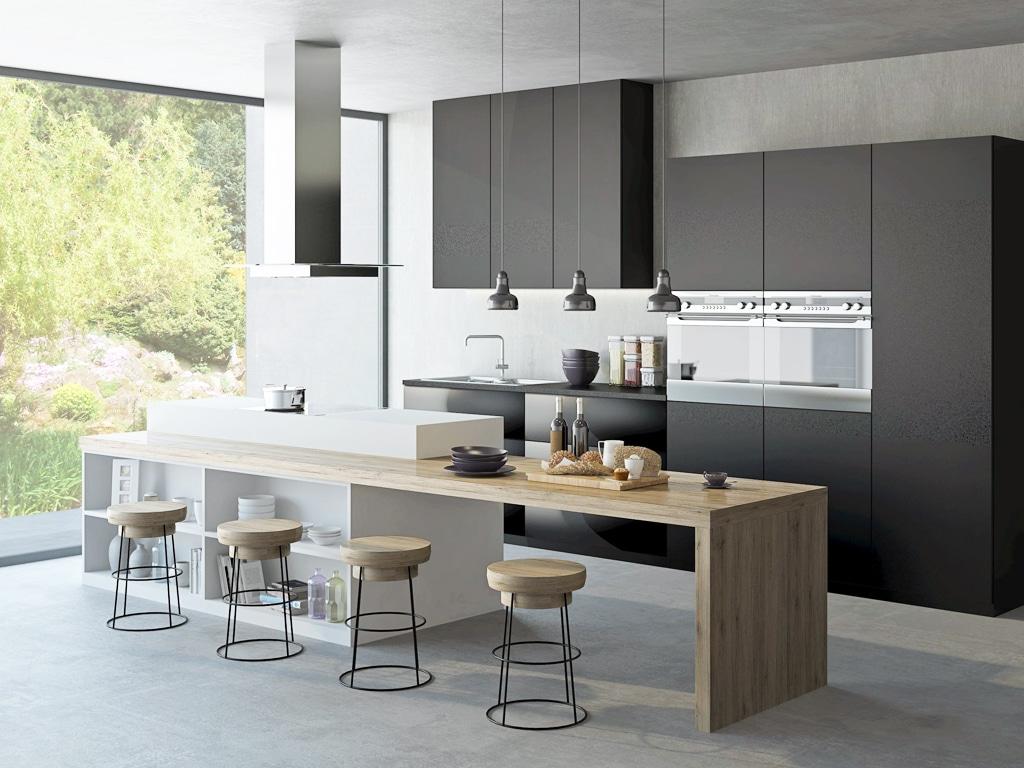 T effect grafitovo seda, Trachea, Matné povrchy vládnu kuchyniam, interier, kuchynsky nabytok, matny nabytok