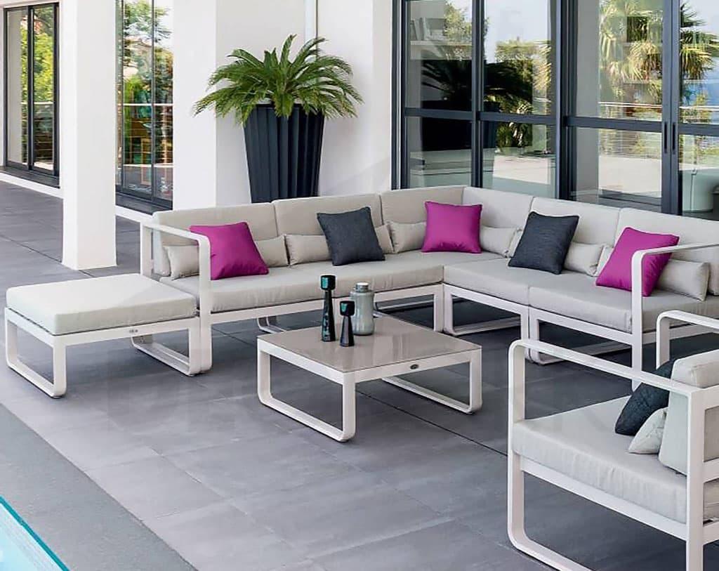 Hliníková rohová zostava MINNESOTA pre 7 osôb (sivá), záhradný nábytok, exteriér, záhrada