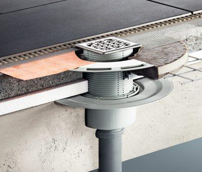 Ako na šíriaci sa zápach kanalizácie po celom dome, Viega, technologie, Advantix kúpeľňový odtok