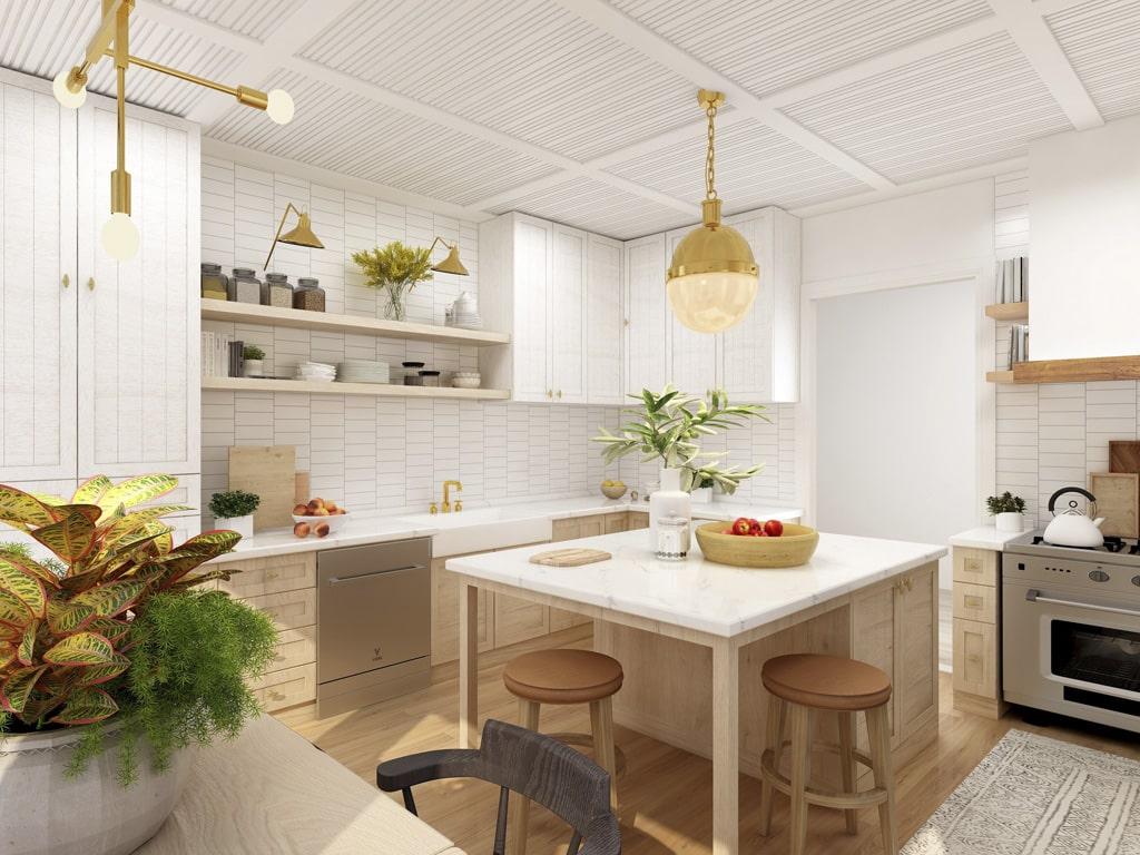 Kuchynský ostrovček v menšej kuchyni, interier, kuchyna