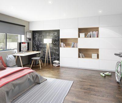 SOFTIXX biela matna studentska izba, Trachea, aké nábytkové materiály do detských a študentských izieb, interier