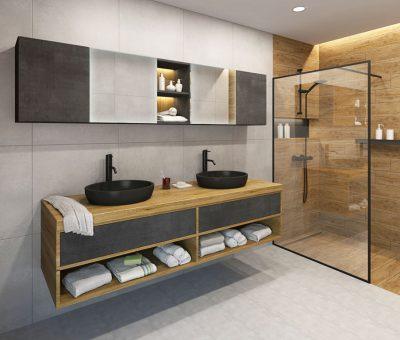 Kúpeľňa s puncom luxusu, T classic folia ULTRA beton Trachea